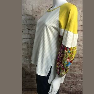 Umgee Top Small Yellow Boho 3/4 Sleeve Raglan
